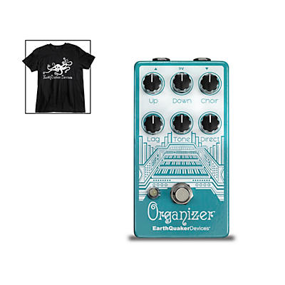 Earthquaker Devices Organizer V2 Organ Emulator Effects Pedal and Octoskull T-Shirt Large Black