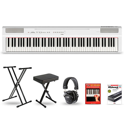 Yamaha P-125 Digital Piano Keyboard Package White Deluxe Package