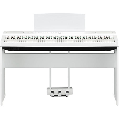Yamaha P-125 Digital Piano with Wooden Stand and LP-1 Pedal Unit White