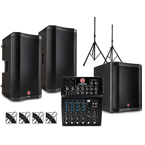 Harbinger PA Package with L802 Mixer, VARI V2300 Series Speakers, V2318S Subwoofer, Stands and Cables 12