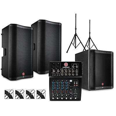 Harbinger PA Package with L802 Mixer, VARI V2300 Series Speakers, V2318S Subwoofer, Stands and Cables