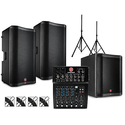 Harbinger PA Package with L802 Mixer, VARI V2300 Series Speakers, V2318S Subwoofer, Stands and Cables 15