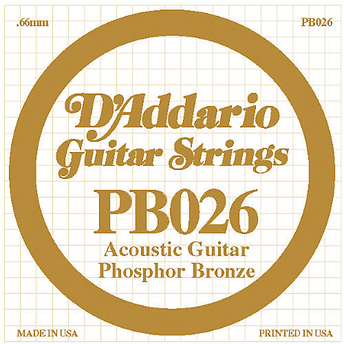 D'Addario PB026 Phosphor Bronze Single Acoustic Guitar String