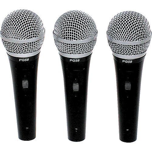 Shure PG58 Microphones 3-Pack