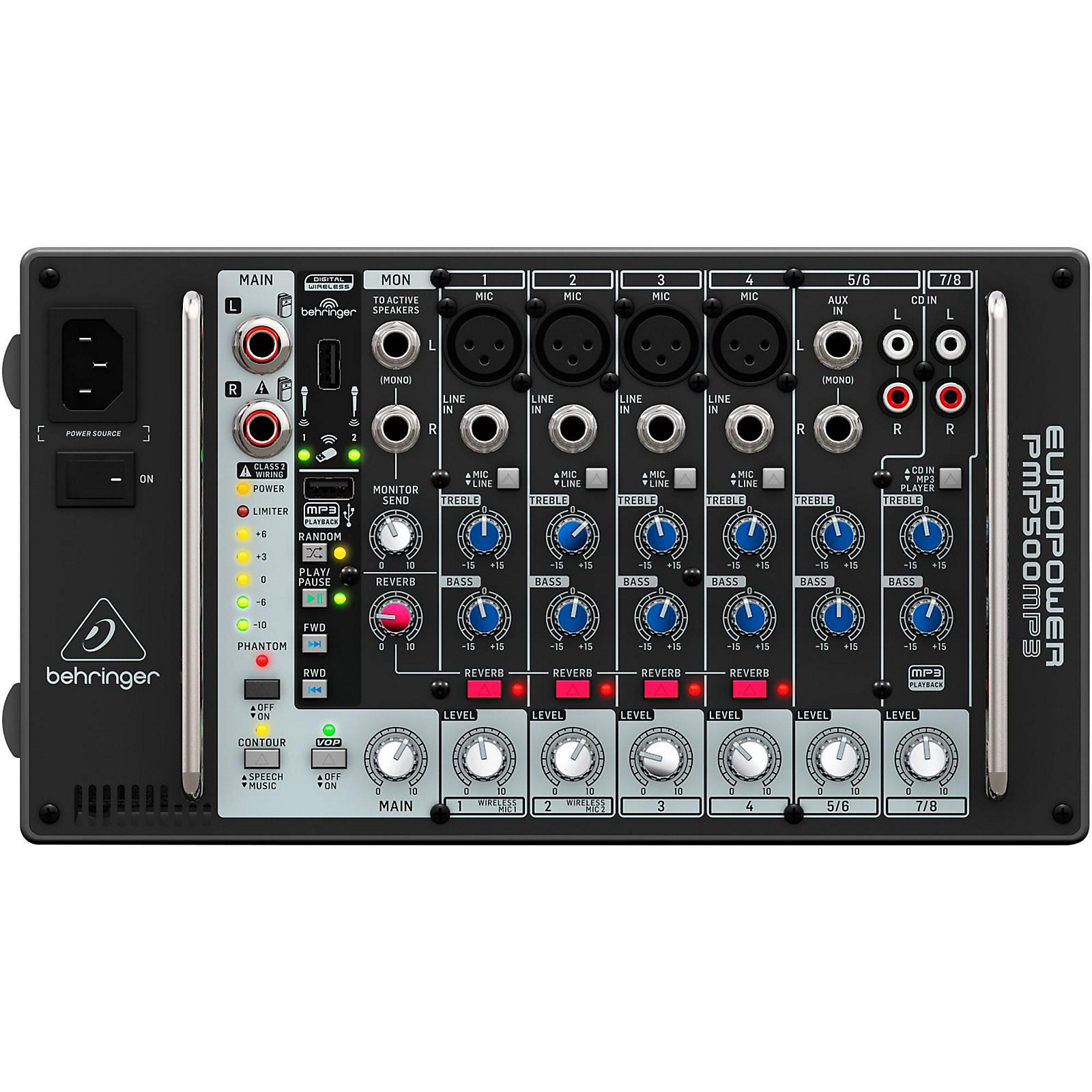 Behringer PMP500MP3 Ultra-Compact 500-Watt 8-Channel Powered Mixer with MP3 Player