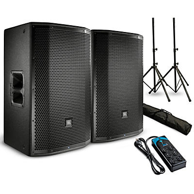 """JBL PRX815W Powered 15"""" Speaker Pair with Stands and Power Strip"""