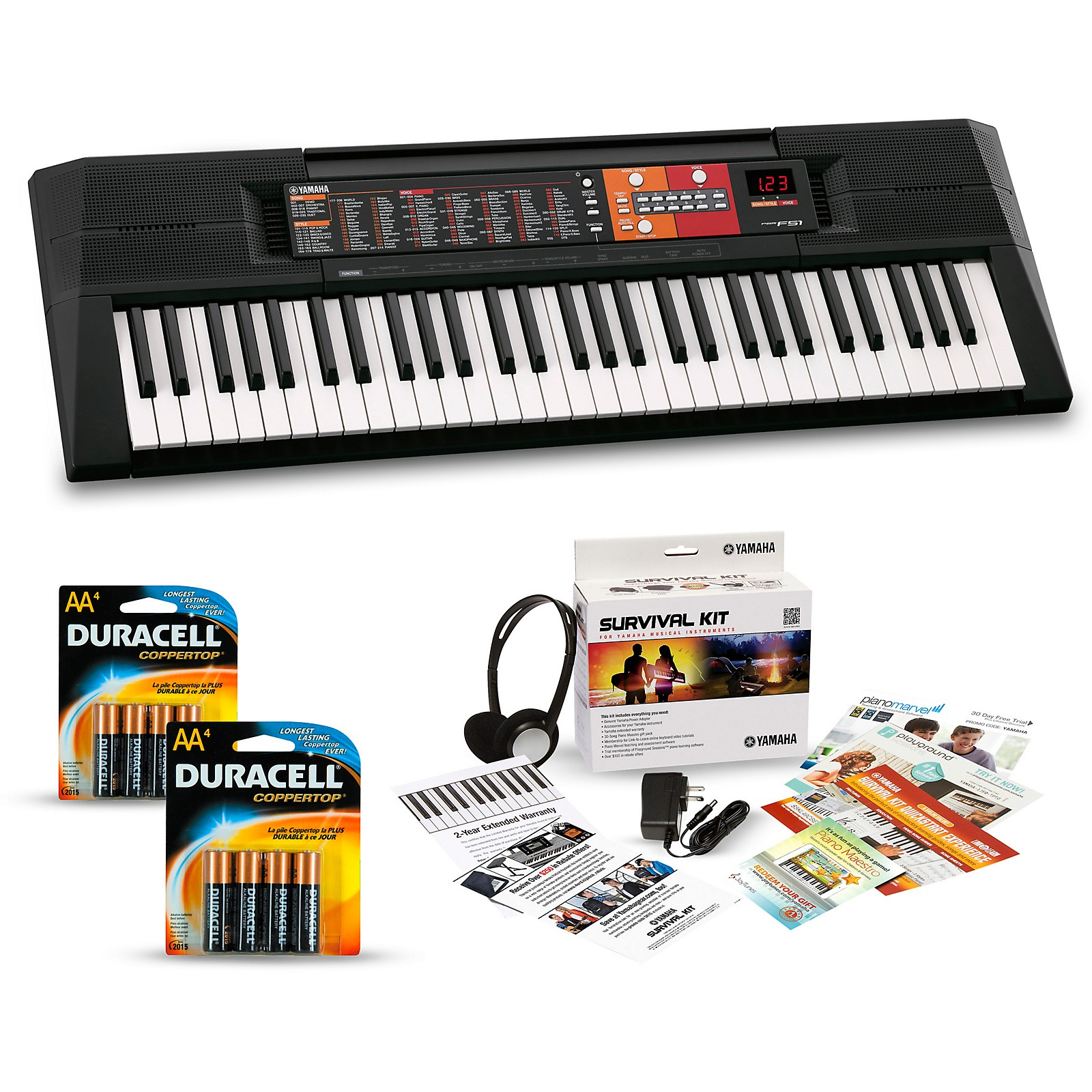 Yamaha PSR-F51 61-Key Portable Keyboard Package
