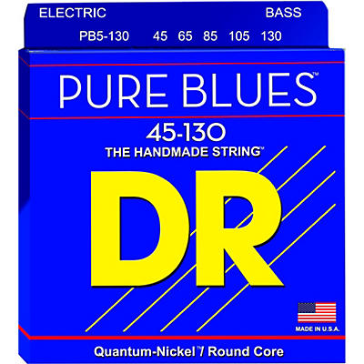 DR Strings PURE BLUES Medium 5-String Bass Strings (45-130)