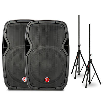 "Harbinger Package With VARI V1012 12"" Powered Speakers and Stands"