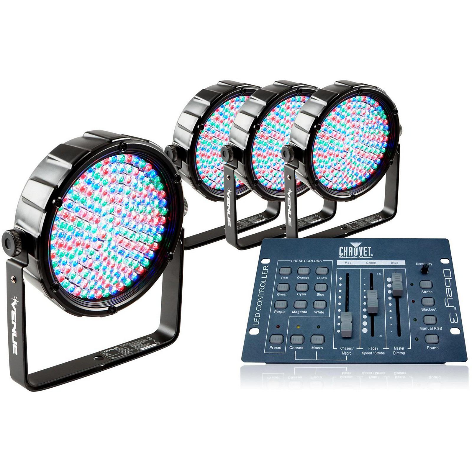 Venue Package of 4 Thinpar64 LED PAR Lights with Obey 3 Controller