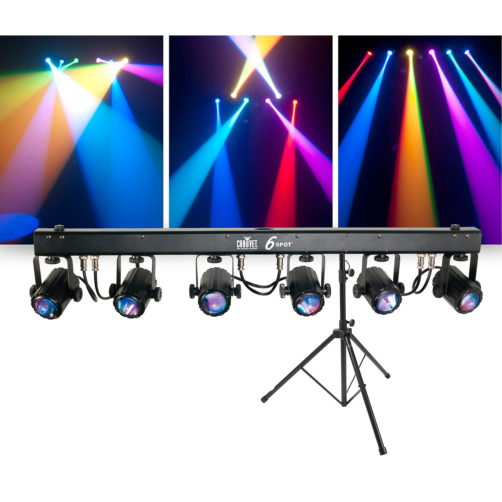 CHAUVET DJ Package with 6SPOT RGB LED Beam Lighting System and Stand