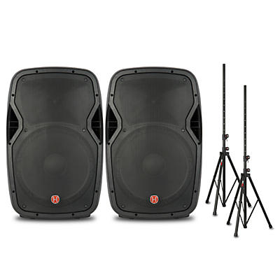 "Harbinger Package with VARI V1015 15"" Powered Speakers and Stands"