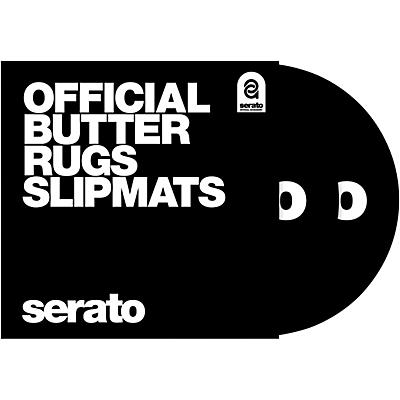 "SERATO Pair of 12"" Black Butter Rug Slipmats with White Logo"