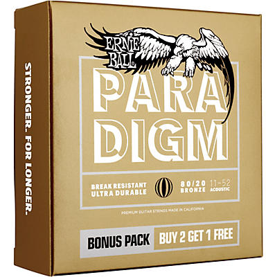 Ernie Ball Paradigm Light 80/20 Bronze Acoustic Guitar Strings 3-Pack