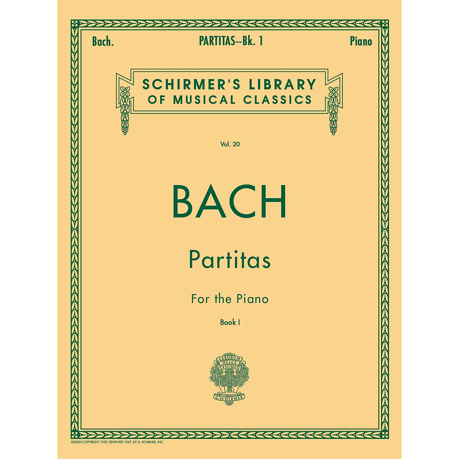 G. Schirmer Partitas for Piano Book 1 Nos 1-3 By Bach