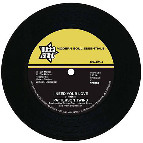 Alliance Patterson Twins - I Need Your Love/I'm Gonna Love You
