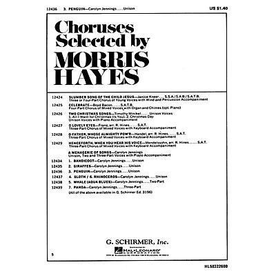 G. Schirmer Penguin Unison 2 And 3 Part Voices and Piano Accomp (#3 From A Menagerie Of Song S) by Carolyn Jennings