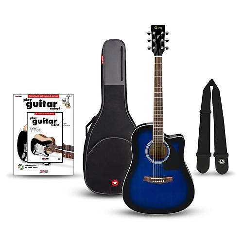 Ibanez Performance Series PF15 Cutaway Dreadnought Acoustic-Electric Guitar Bundle
