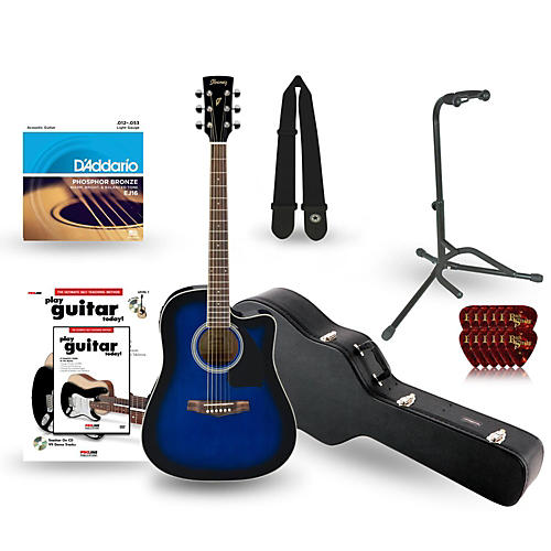 ibanez performance series pf15 cutaway dreadnought acoustic electric guitar deluxe bundle. Black Bedroom Furniture Sets. Home Design Ideas