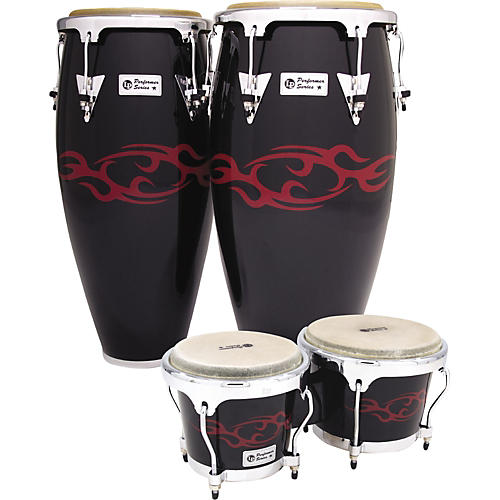 LP Performer Limited Edition 2-Piece Conga Set Black with Red Tattoo