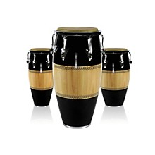 Performer Series 3-Piece Conga Set with Chrome Hardware Black/Natural