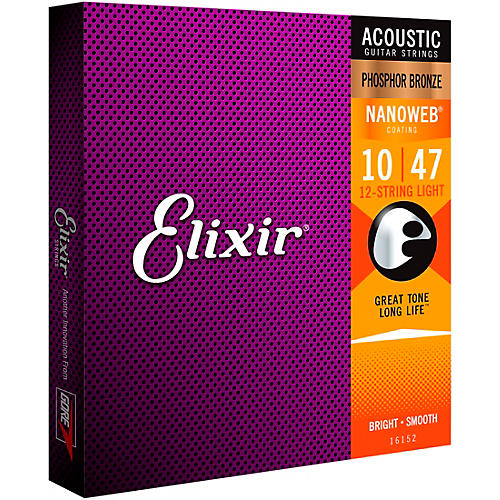 Elixir Phosphor Bronze 12-String Acoustic Guitar Strings with NANOWEB Coating, Light (.010-.047)