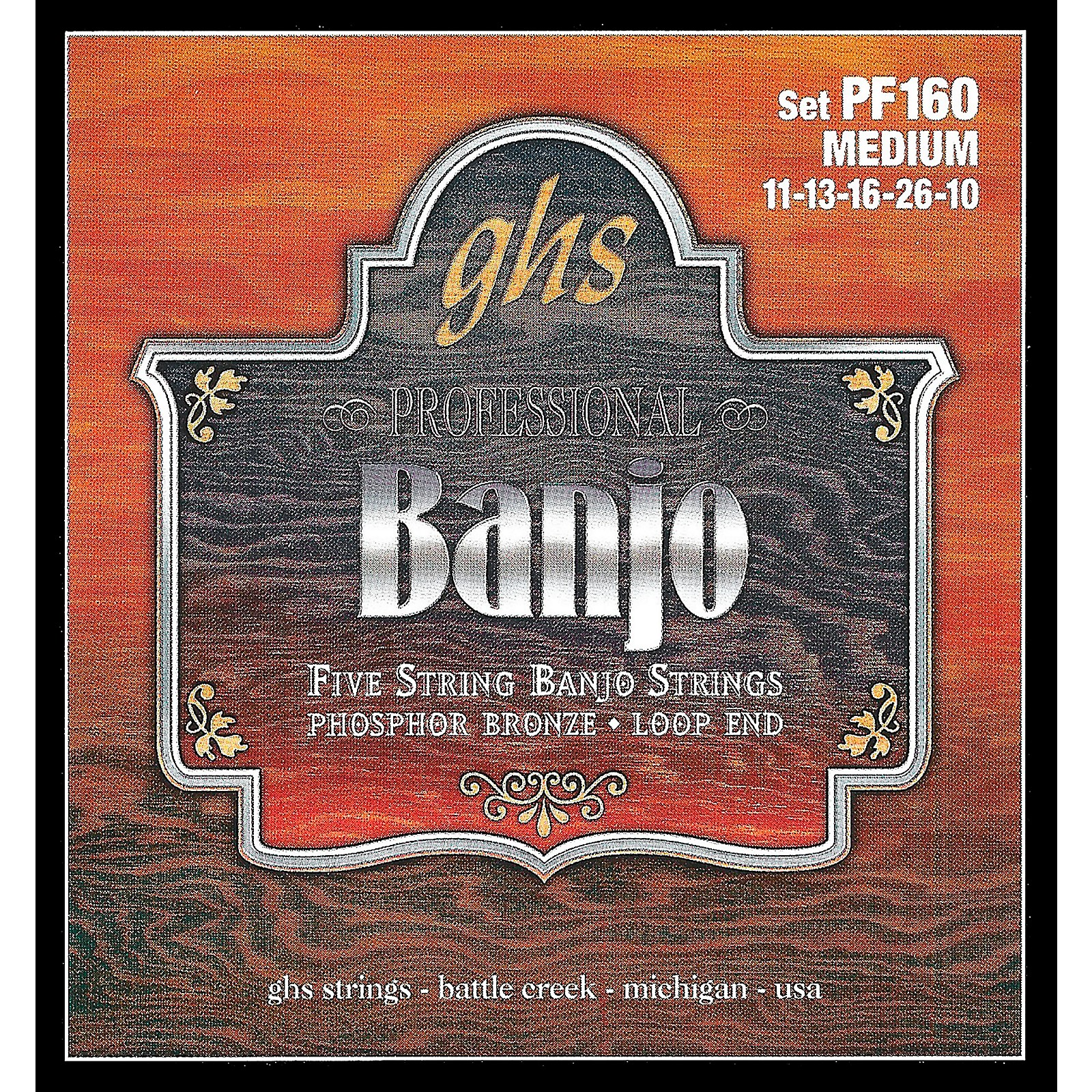 GHS Phosphor Bronze 5-String Banjo Strings Medium