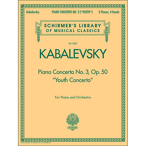 G. Schirmer Piano Concerto No 3 Op 50 2 Pianos 4 Hands Youth Concerto By Kabalevsky