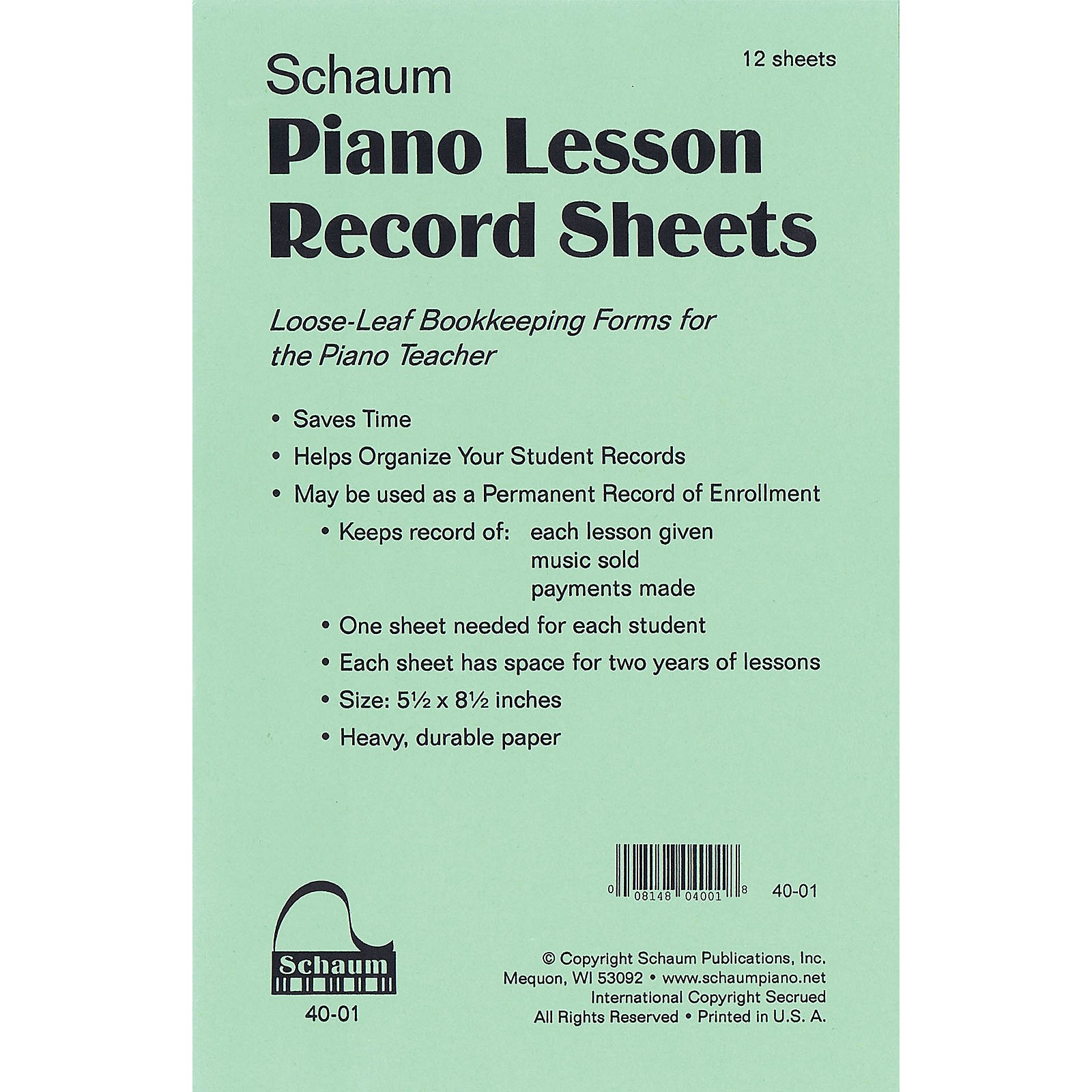 SCHAUM Piano Lesson Record Sheets Educational Piano Series Softcover