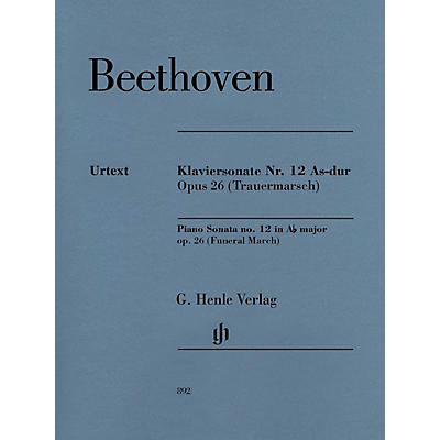 G. Henle Verlag Piano Sonata No. 12 in A-flat Major, Op. 26 (Funeral March) Henle Music Softcover by Beethoven