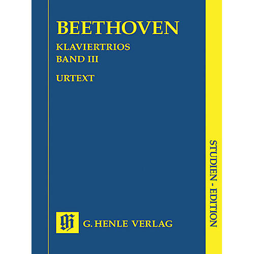 G. Henle Verlag Piano Trios - Volume III (Study Score) Henle Study Scores Series Softcover by Ludwig van Beethoven