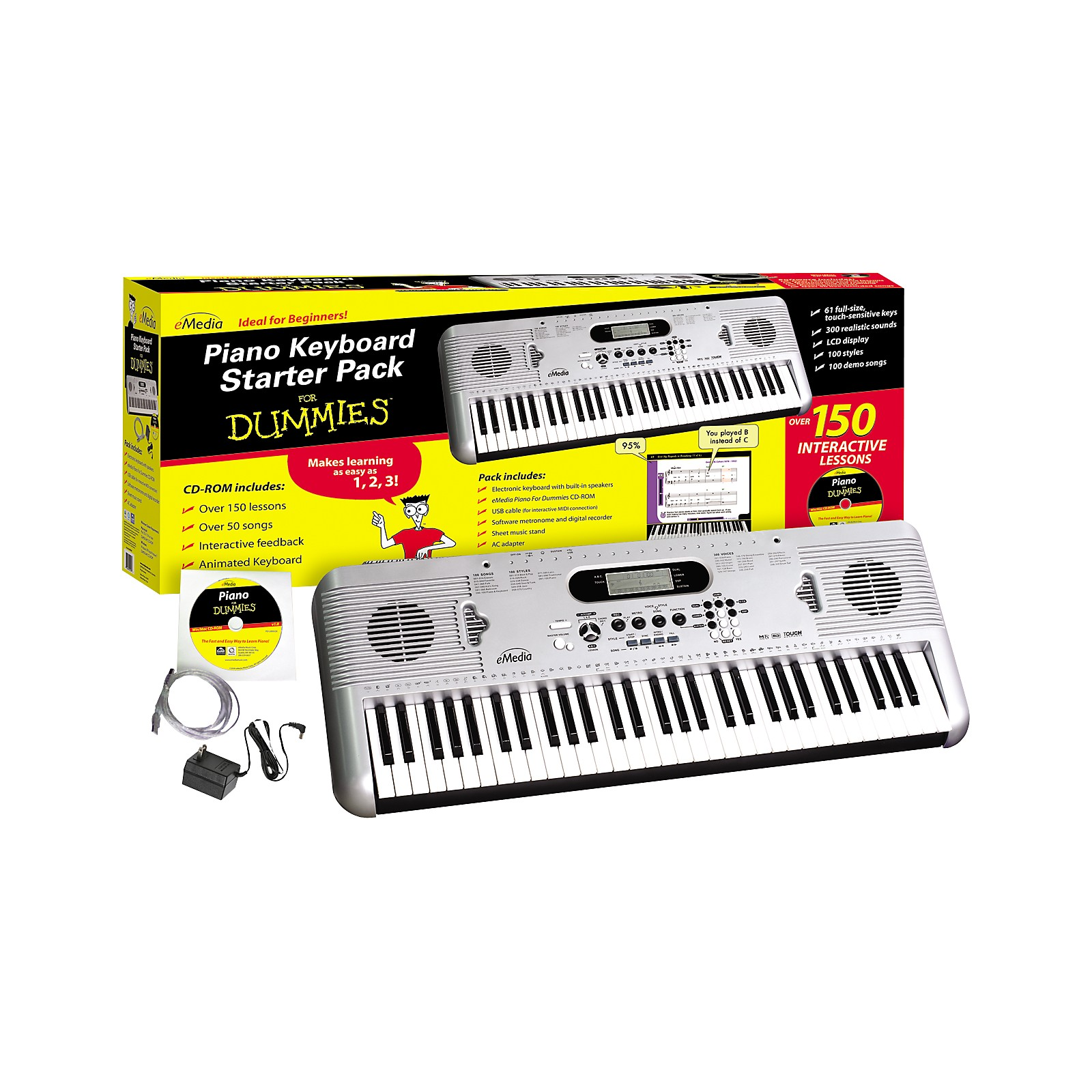 eMedia Piano for Dummies 61-Key Keyboard Starter Pack