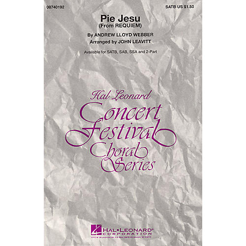 Hal Leonard Pie Jesu (from Requiem) 2-Part Arranged by John Leavitt