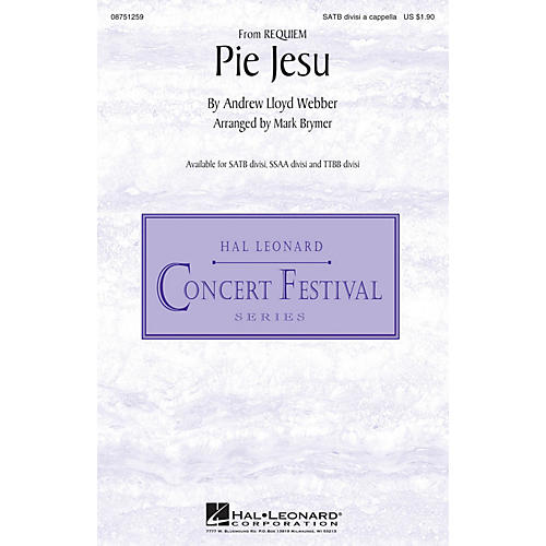 Hal Leonard Pie Jesu (from Requiem) SATB DV A Cappella arranged by Mark Brymer