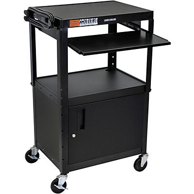 H. Wilson Plastic Cart with Steel Cabinet and Pullout Keyboard Tray