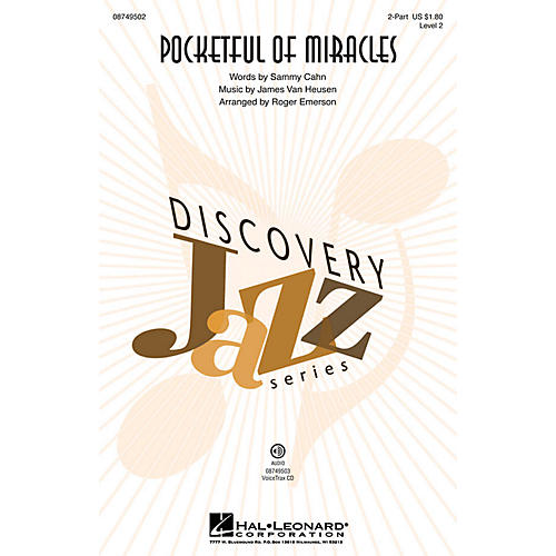Hal Leonard Pocketful of Miracles (Discovery Level 2) 2-Part by Frank Sinatra arranged by Roger Emerson