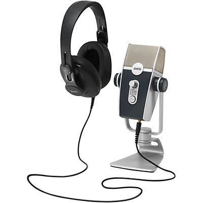 AKG Podcaster Essentials with Lyra USB Microphone and 371 Headphones