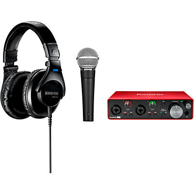 Shure Podcaster's Create and Cast Bundle With Focusrite Scarlett 2i2, Shure SM58 & Shure SRH440