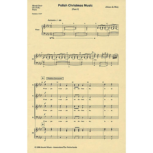 Amstel Music Polish Christmas Music, Part I SATB composed by Johan de Meij