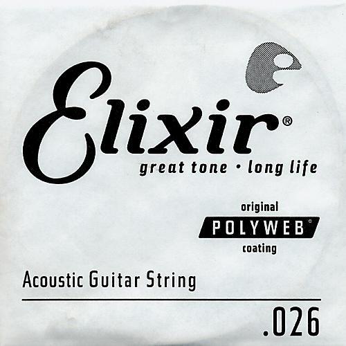 Elixir Polyweb .026 Acoustic Guitar String 4-Pack Singles