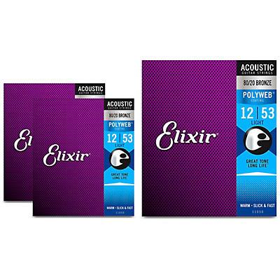 Elixir Polyweb Acoustic Light Strings 3 Pack