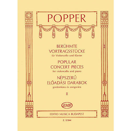 Editio Musica Budapest Popular Concert Pieces - Volume 2 (Cello and Piano) EMB Series Composed by Dávid Popper