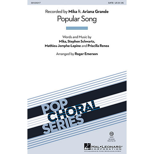 Hal Leonard Popular Song SATB by Mika arranged by Roger Emerson