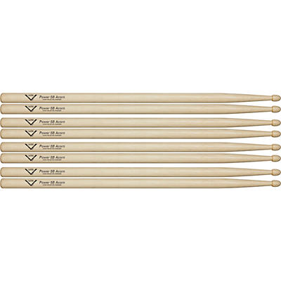 Vater Power 5B Acorn Drum Sticks - Buy 3, Get 1 Free Value Pack