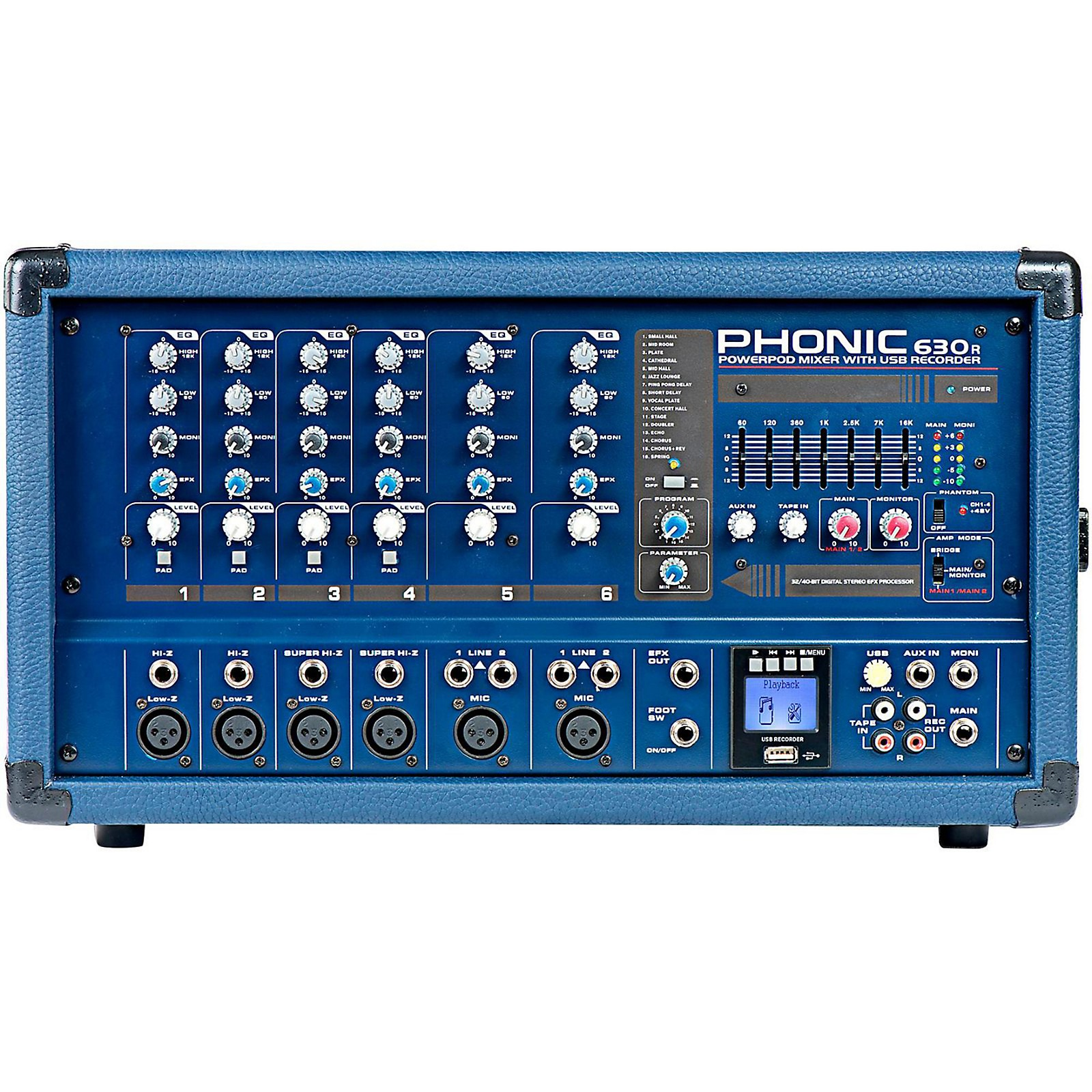 Phonic Powerpod 630R 300W 6-Channel Powered Mixer with USB Recorder