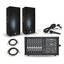 Powerpod 780 Plus Mixer with GSM Speakers PA Package Dual 15
