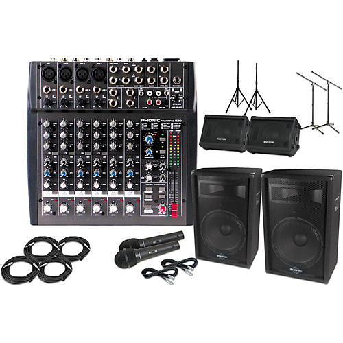 Phonic Powerpod 820 Mixer with 15 in. S715 Mains and KPC10M 10 in. Monitors Package