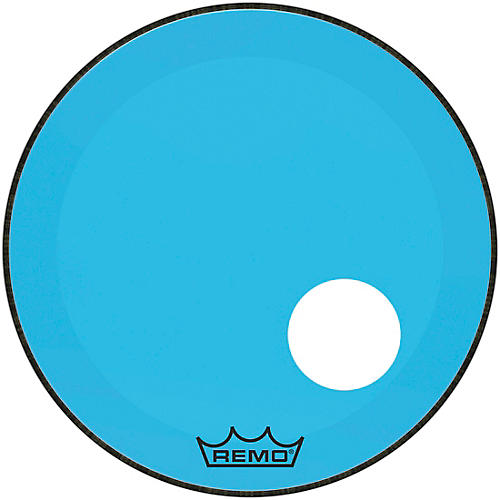 remo powerstroke p3 colortone blue resonant bass drum head with 5 offset hole 22 in musician. Black Bedroom Furniture Sets. Home Design Ideas