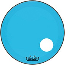 """Remo Powerstroke P3 Colortone Blue Resonant Bass Drum Head with 5"""" Offset Hole"""