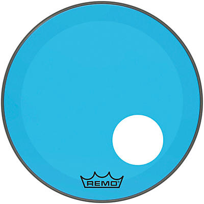 Remo Powerstroke P3 Colortone Blue Resonant Bass Drum Head with 5 in. Offset Hole
